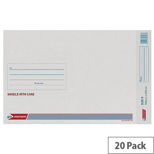 GoSecure Bubble Lined Envelope Size 9 300x445mm White Pack of 20 PB02130