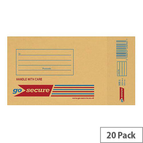 GoSecure Bubble Lined Envelope Size 1 100x165mm Gold Pack of 20 PB02150