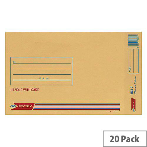 GoSecure Bubble Lined Envelope Size 7 230x340mm Gold Pack of 20 PB02154
