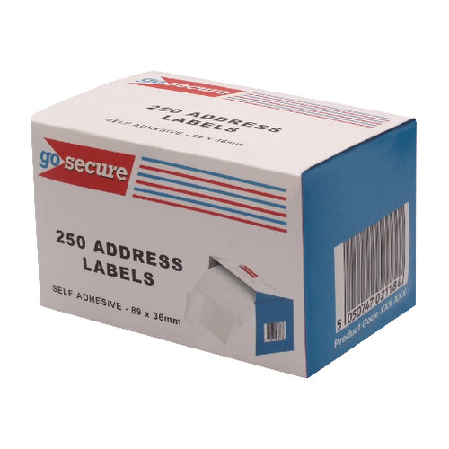 GoSecure Self Adhesive Address Labels 6 Packs of 250 PB02278