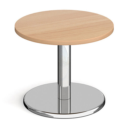 Pisa Circular Beech Coffee Table with Round Chrome Base 600mm