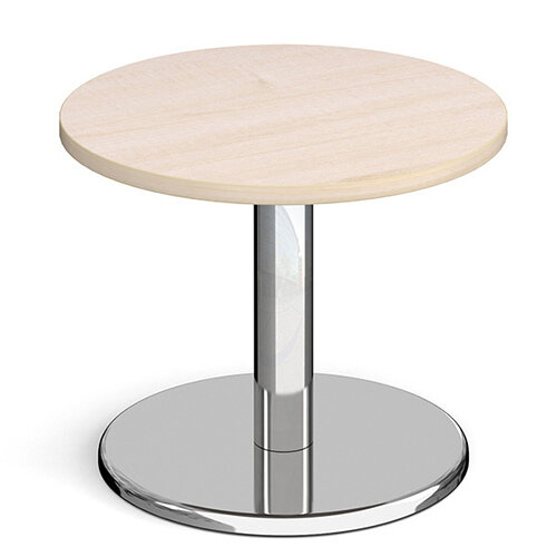 Pisa Circular Maple Coffee Table with Round Chrome Base 600mm