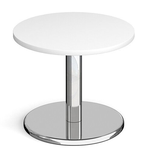 Pisa Circular White Coffee Table with Round Chrome Base 600mm