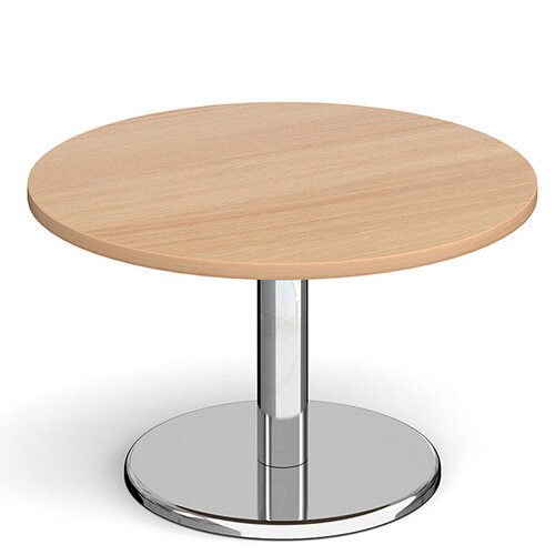 Pisa Circular Beech Coffee Table with Round Chrome Base 800mm