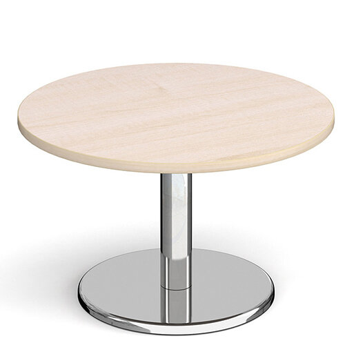 Pisa Circular Maple Coffee Table with Round Chrome Base 800mm