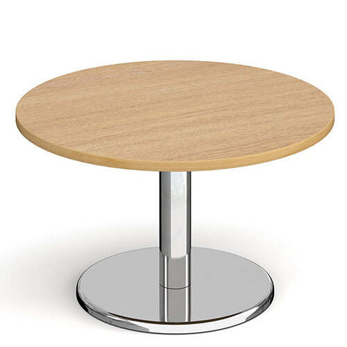 Pisa Circular Oak Coffee Table with Round Chrome Base 800mm