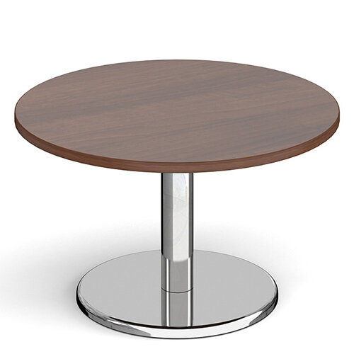 Pisa Circular Walnut Coffee Table with Round Chrome Base 800mm