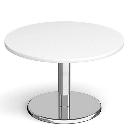 Pisa Circular White Coffee Table with Round Chrome Base 800mm
