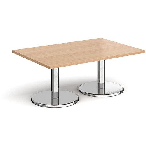 Pisa Rectangular Beech Coffee Table with Round Chrome Bases 1200mmX800mm