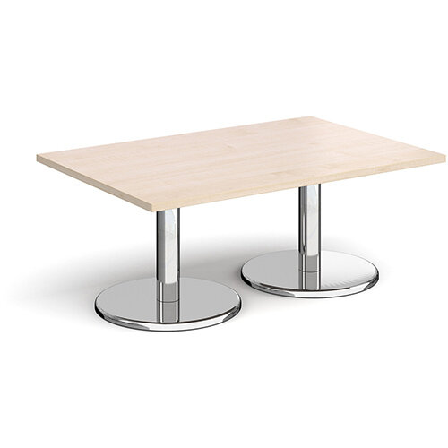 Pisa Rectangular Maple Coffee Table with Round Chrome Bases 1200mmX800mm