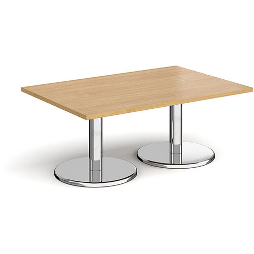 Pisa Rectangular Oak Coffee Table with Round Chrome Bases 1200mmX800mm