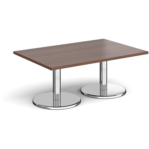 Pisa Rectangular Walnut Coffee Table with Round Chrome Bases 1200mmX800mm