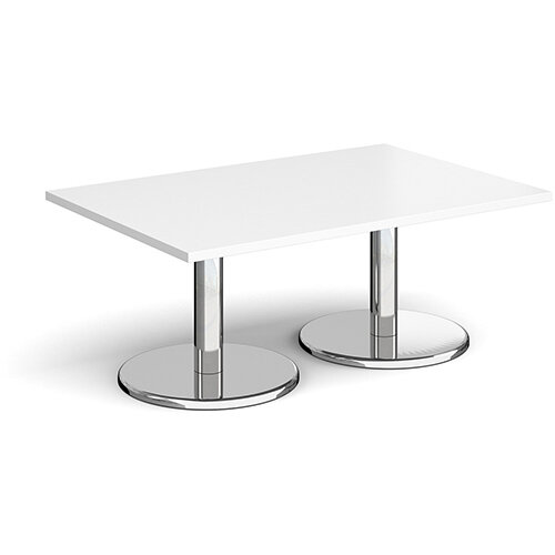 Pisa Rectangular White Coffee Table with Round Chrome Bases 1200mmX800mm