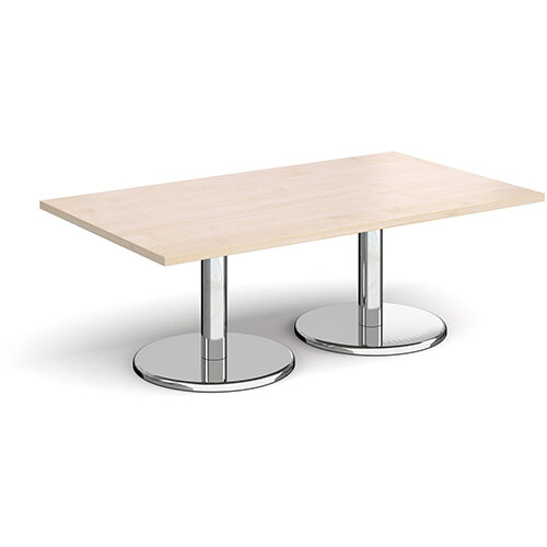 Pisa Rectangular Maple Coffee Table with Round Chrome Bases 1400mmX800mm