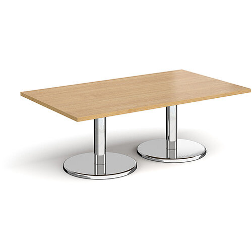 Pisa Rectangular Oak Coffee Table with Round Chrome Bases 1400mmX800mm