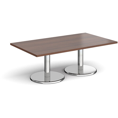 Pisa Rectangular Walnut Coffee Table with Round Chrome Bases 1400mmX800mm