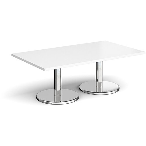 Pisa Rectangular White Coffee Table with Round Chrome Bases 1400mmX800mm