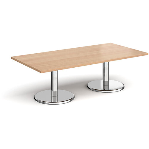Pisa Rectangular Beech Coffee Table with Round Chrome Bases 1600mmX800mm