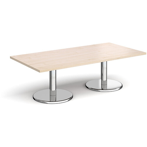 Pisa Rectangular Maple Coffee Table with Round Chrome Bases 1600mmX800mm