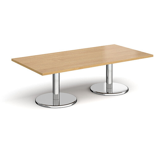 Pisa Rectangular Oak Coffee Table with Round Chrome Bases 1600mmX800mm