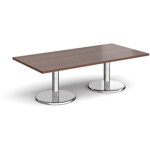 Pisa Rectangular Walnut Coffee Table with Round Chrome Bases 1600mmX800mm