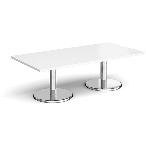 Pisa Rectangular White Coffee Table with Round Chrome Bases 1600mmX800mm
