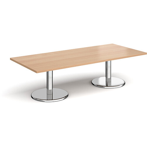 Pisa Rectangular Beech Coffee Table with Round Chrome Bases 1800mmX800mm