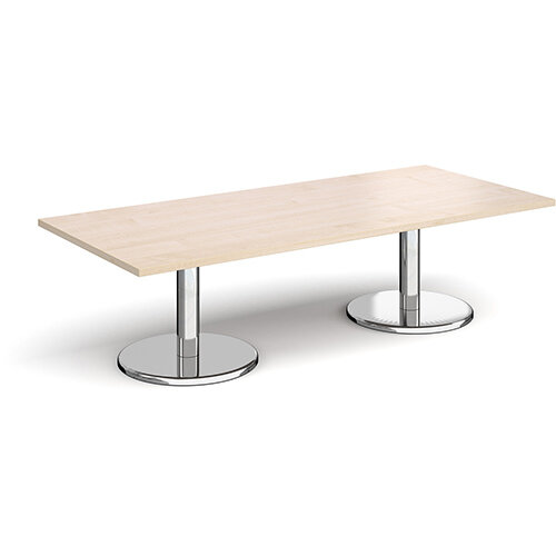 Pisa Rectangular Maple Coffee Table with Round Chrome Bases 1800mmX800mm