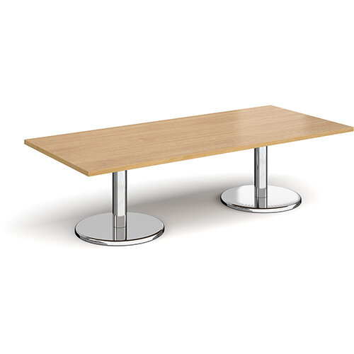 Pisa Rectangular Oak Coffee Table with Round Chrome Bases 1800mmX800mm