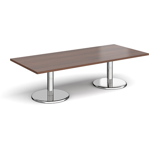 Pisa Rectangular Walnut Coffee Table with Round Chrome Bases 1800mmX800mm