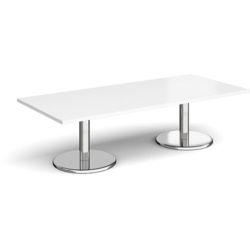 Pisa Rectangular White Coffee Table with Round Chrome Bases 1800mmX800mm