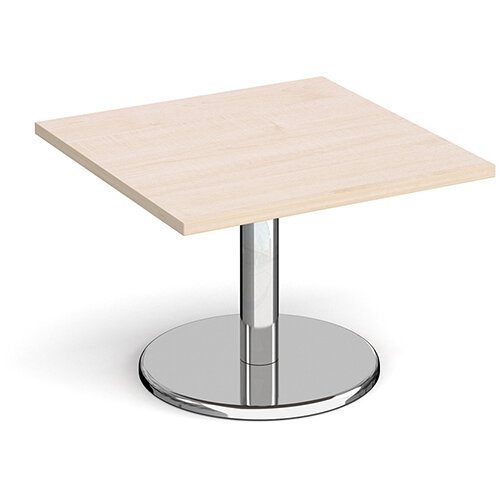 Pisa Square Maple Coffee Table with Round Chrome Base 700mm