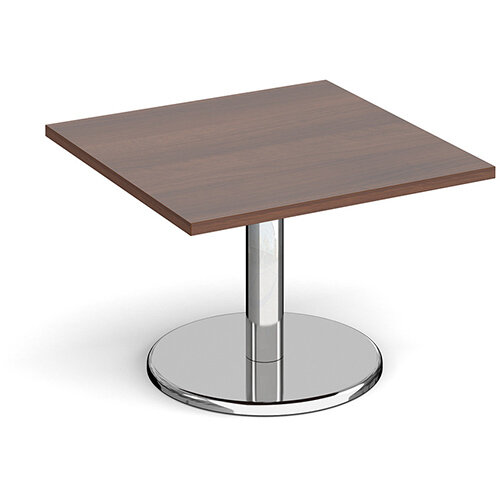 Pisa Square Walnut Coffee Table with Round Chrome Base 700mm
