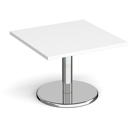 Pisa Square White Coffee Table with Round Chrome Base 700mm