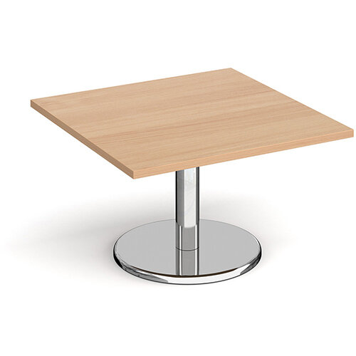 Pisa Square Beech Coffee Table with Round Chrome Base 800mm