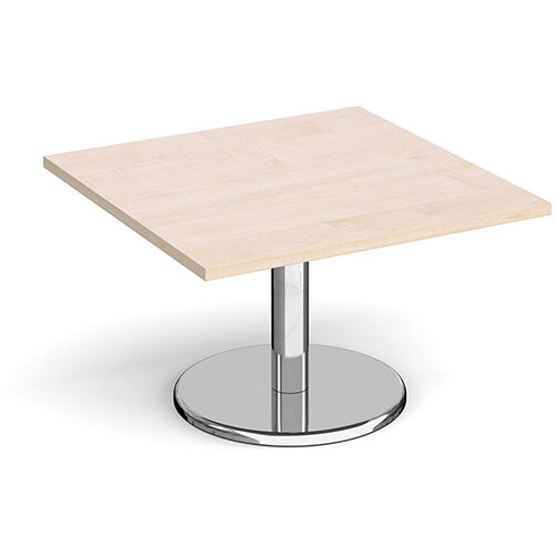 Pisa Square Maple Coffee Table with Round Chrome Base 800mm