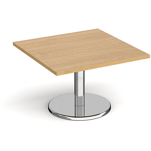 Pisa Square Oak Coffee Table with Round Chrome Base 800mm