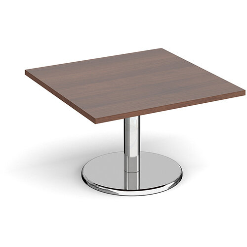 Pisa Square Walnut Coffee Table with Round Chrome Base 800mm