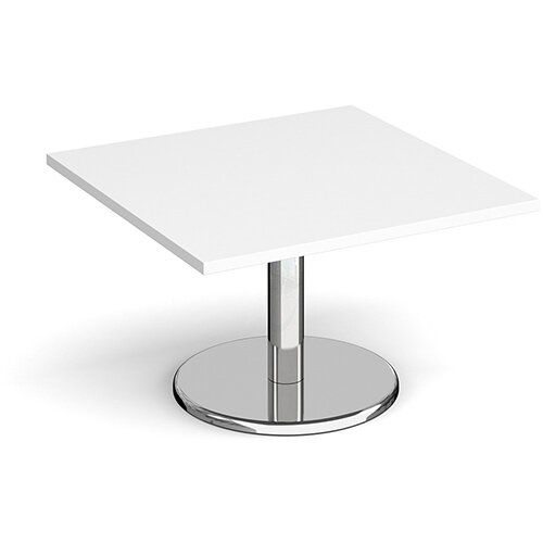 Pisa Square White Coffee Table with Round Chrome Base 800mm