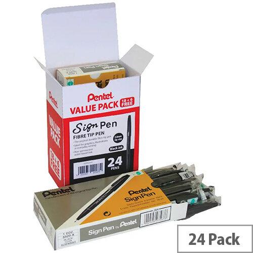 Pentel Sign Fibre Tip Pen Black Pack of 24 S520/24-A