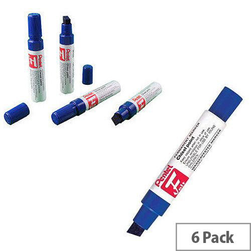 Pentel Blue Permanent Marker Chisel Tip Pack of 6 M180/6-C