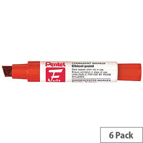 Pentel Marker Chisel Tip Red Pack of 6 M180/6-B