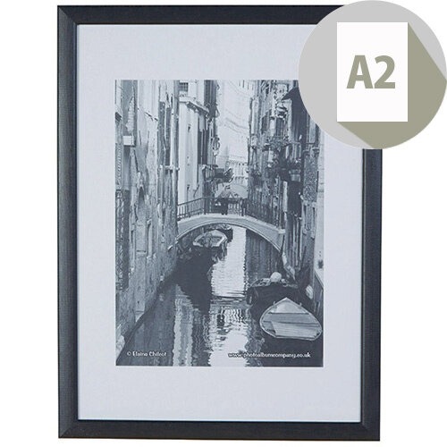 Photo Album Company A2 Black Wood Frame Perspex Non-Glass, Ideal for Posters &Notices, 22mm Moulding, Suitable For Wall Mounting Only