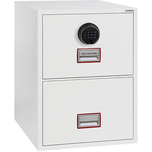 Phoenix World Class Vertical Fire File FS2272F 2 Drawer Filing Cabinet with Electronic Fingerprint Lock White