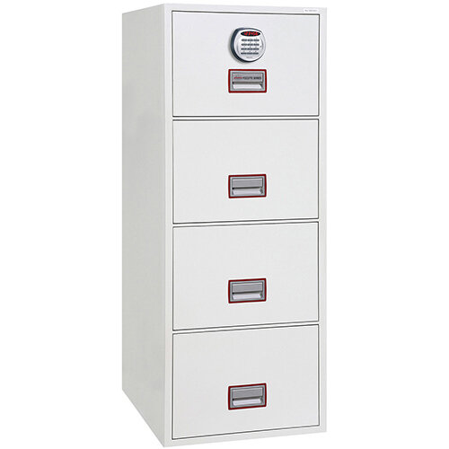 Phoenix World Class Vertical Fire File FS2274E 4 Drawer Filing Cabinet with Electronic Lock White