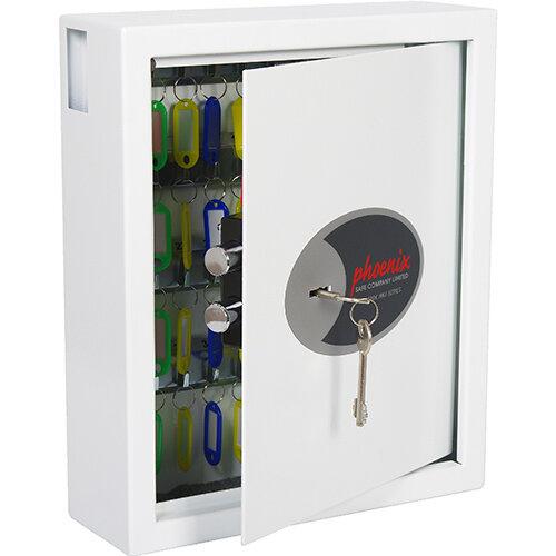 Phoenix Cygnus Key Deposit Safe KS0032K With 48 Key Hooks Key Lock &Deposit Slot White