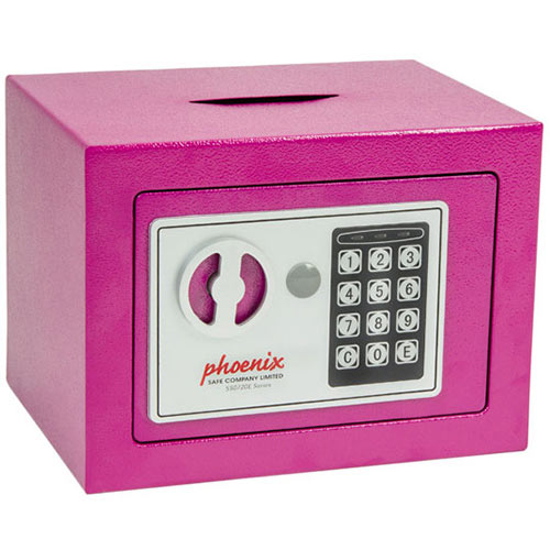 Phoenix SS0721EPD Compact Home Office Security Safe 4L With Electronic Lock &Deposit Slot Pink