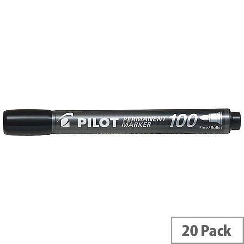 Pilot 100 Permanent Market Black Bullet Tip Pack of 20 3131910501268