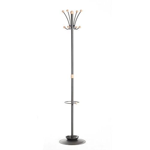 Coat &umbrella stand with 8 coat hooks and 8 umbrella hooks 1780mm high - black and cream