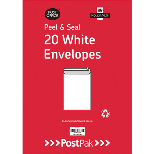 Envelopes C4 Peel &Seal White 90Gsm Pack of 20 POF27421